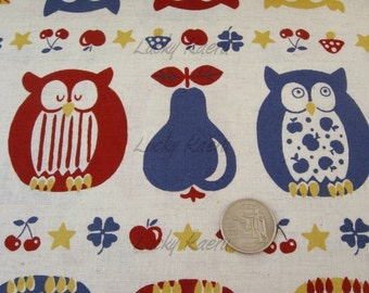 SALE Owls, Apples and Pears (Red/Blue) Japanese Fabric - Half Yard (Last One)