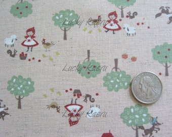 Fairy Tale Little Red Riding Hood on Pink Japanese Linen Fabric - Half Yard