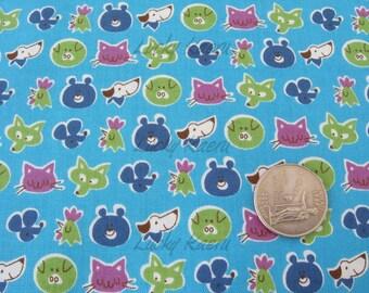 SALE Cute Animal Faces Blue Japanese Fabric - Half Yard