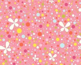 Girl Friday Cosmo Cricket Dots on Pink OOP Fabric - REMNANT Size 27 Inches by 44 Inches