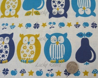 SALE Owls, Apples and Pears (Blue/Yellow) Japanese Fabric - Half Yard