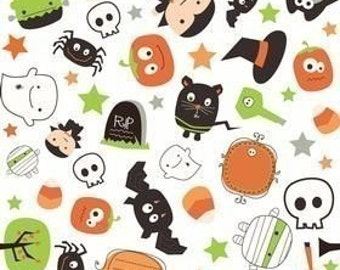 Riley Blake Designs, Boo To You, White Boo Scatter OOP Fabric - Half Yard