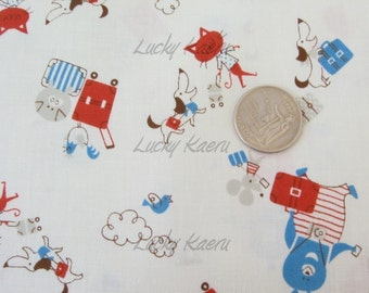 SALE Animal Vacation (Blue/Red) Japanese Fabric - Half Yard