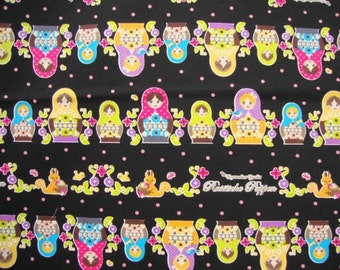 SALE Kawaii Matryoshka Dot Black Japanese Fabric - Half Yard