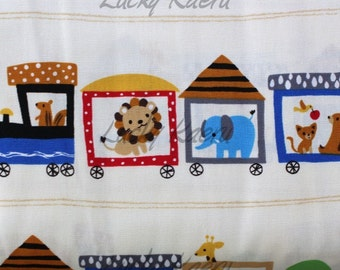SALE Cute Animal Train on Cream Japanese Fabric - Half Yard