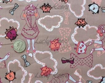 SALE/CLEARANCE  Marie Jacobi, A Trip To Wonderland Brown/Mauve Japanese Fabric - Half Yard