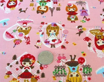 Cute Dolls in Paris on Pink Japanese Fabric - Half Yard