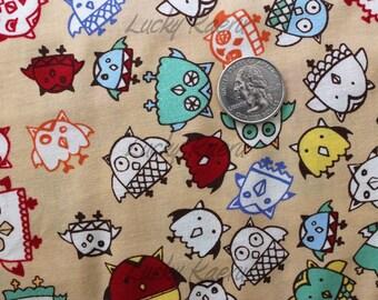 Marie Jacobi, Owls Tan Japanese Fabric - Half Yard