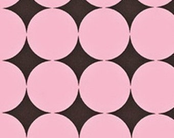Michael Miller Disco Dot Pink Fabric- REMNANT Size 25 Inches by 44 Inches