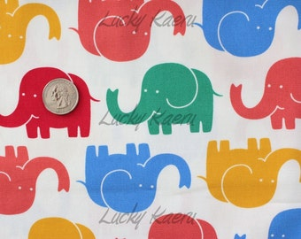 SALE Cute Elephant Parade on Natural Japanese Fabric - Half Yard