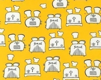 Monaluna Metro Cafe Toasters on Yellow Fabric - Half Yard