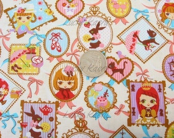 Cute Doll Portraits on Cream Japanese Fabric - Half Yard