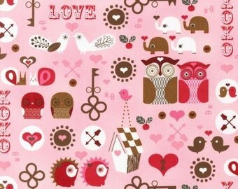 Suzanne Ultman, Kiss Me, Love in Pink Fabric - REMNANT Size 27 Inches by 44 Inches