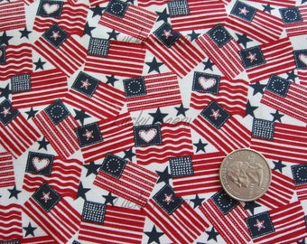 SALE/CLEARANCE  Red White and Blue Patriotic Flags Fabric - By the Yard