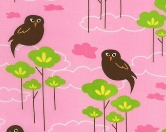 Hot Couturier Owls on Petal Pink OOP Fabric - Half Yard