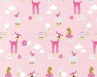 Robert Kaufman Toyland, Cute Deer on Pink OOP Fabric - REMNANT Size 30 Inches by 44 Inches