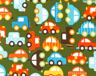 Ann Kelle, Ready, Set, Go, Cars in Lime Organic Cotton Fabric - Half Yard