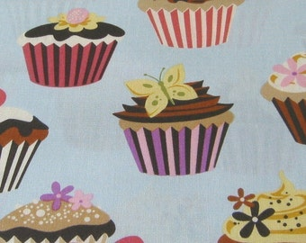 Sweet Tooth Cupcakes on Powder Blue Fabric - REMNANT Size 27 Inches by 44 Inches