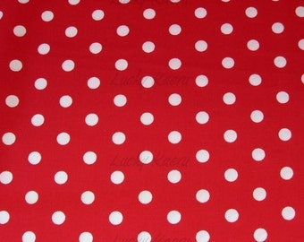 Robert Kaufman Pimatex Basics Dots Red Fabric - REMNANT Size 25 Inches by 44 Inches