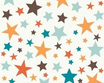Riley Blake Designs, All Star 2, Main Stars Orange Fabric - Remnant Size 30 Inches by 44 Inches