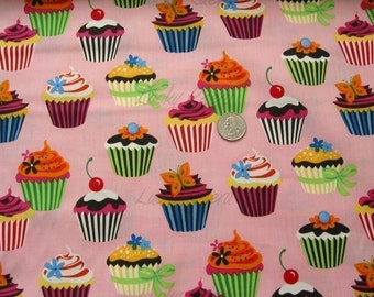 Sweet Tooth Cupcakes on Camellia Fabric - REMNANT Size 31 Inches by 44 Inches