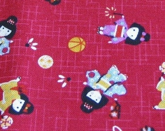 Kimono Girls Red Japanese Fabric - REMNANT Size 30 Inches by 43 Inches