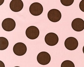 Robert Kaufman Pimatex Basics Large Brown Dots on Pink Fabric - REMNANT Size 31 Inches by 44 Inches