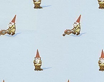 Heather Ross Gnomes on Sky Blue Fabric (Out of Print) - HALF YARD