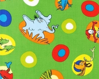 Dr. Seuss, Celebrate Seuss Green Fabric - REMNANT Size 20 Inches by 44 Inches