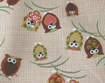 Japanese Owls on Natural Japanese Fabric - Half Yard