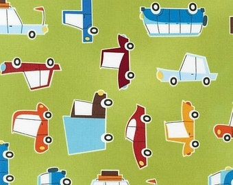 SALE Caleb Gray, On The Road, Cars on Chartreuse Fabric - By the Yard