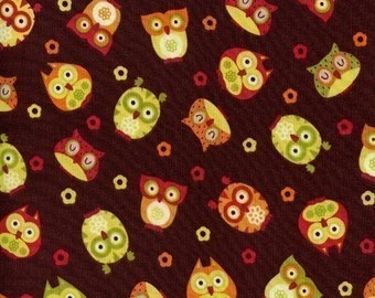 Tossed Owls on Brown OOP Fabric - HALF Yard