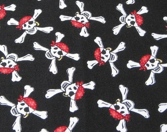 Pirate Skull and Crossbones on Black Fabric - REMNANT Size 16 Inches by 44 Inches