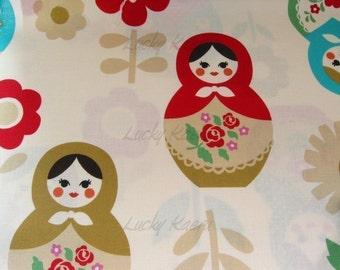 Large Matryoshka on Natural Japanese Fabric - Half Yard