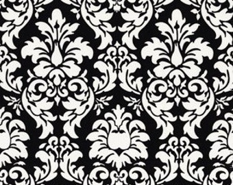 Michael Miller Dandy Damask Black Fabric - Half Yard