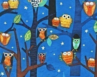 Amy Schimler Forest Fun Owls Spring Fabric - Half Yard (Last One)