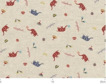 Elephants Circus Pink/Natural Japanese Fabric -  Half Yard