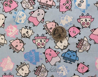 Marie Jacobi, Owls Blue Periwinkle Japanese Fabric - Half Yard