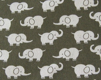 Elephants on Olive Japanese Fabric - Half Yard