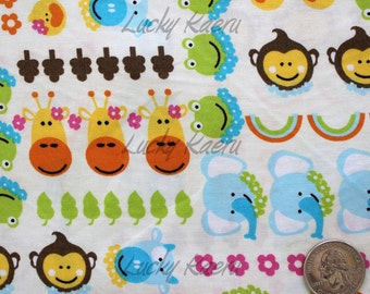 SALE/CLEARANCE Kawaii Animal Faces and Flowers on Cream Fabric - Half Yard