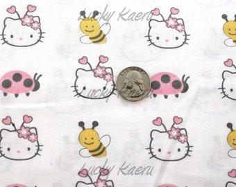 Hello Kitty Faces and Bugs White Multi Fabric - Half Yard