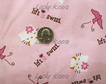 SALE Hello Kitty Life Is Sweet Pink Fabric - REMNANT Size 34 Inches by 44 Inches