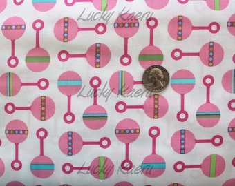 SALE/CLEARANCE Katie Hennagir, Little One, Rattle in Sweet Pea Organic Cotton Fabric - By the Yard