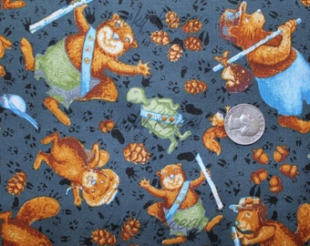 SALE/CLEARANCE Jacqueline Decker, Ramblin' Woods, Forest Animals in Black/Grey Fabric - By the Yard