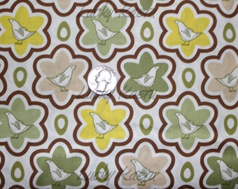 SALE/CLEARANCE Thomas Knauer, Pear Tree, Birds and Eggs Green Fabric - By the Yard