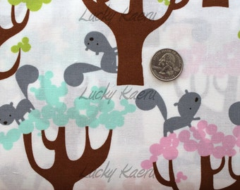 David Walker, Get Together, Squirrel and Trees Sorbet  Fabric - Half Yard
