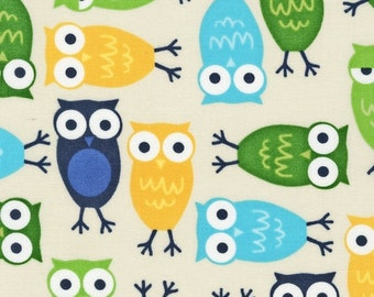 Ann Kelle Cool Cords Owls in Lagoon CORDUROY Fabric - By the Yard