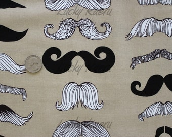 Alexander Henry Where's My 'Stache Taupe Fabric - Half Yard
