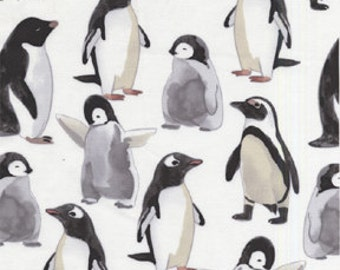 Michael Miller Picka Pecka Penguin White OOP Fabric - REMNANT Size 23 Inches by 44 Inches