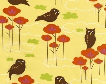 Hot Couturier Owls on Lemon Yellow OOP Fabric - HALF Yard